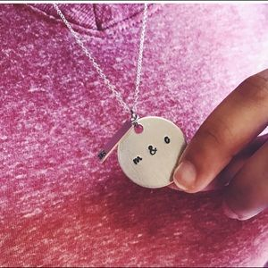 [] Circle Name Initials Necklace []